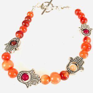 Genuine Carnelian  Hamsa Ruby Gem Toggle Bracelet